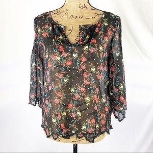 Jessica Simpson Floral Print Lace Edged Top